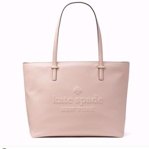 Kate Spade Larchmont Avenue Logo Penny Pink Leather Large Tote WKRU5619